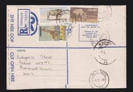South West Africa, 91 Cents, Registered > S. Africa, ARANDIS 3 II 88, WINDHOEK Transit, MARSHALLTOWN Arrival - South West Africa (1923-1990)