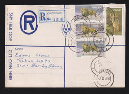 South West Africa, 91 Cents, Registered > S. Africa, KHORIXAS  2 II 88, WINDHOEK Transit, - South West Africa (1923-1990)