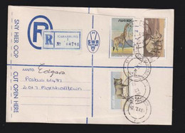 South West Africa, 91 Cents, Registered > S. Africa, KARASBURG 2 II  88, UPINGTON (s.a.) Transit, MARSHALLTOWN Arrival - South West Africa (1923-1990)