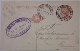 """SORESINA - CREMONA - CARTOLINA POSTALE DA CENT.30 DEL 1923 - TIMBRO COMMERCIALE """" FABBRICERIA PARROCCHIALE DI S.SIRO"""" - Cremona"""