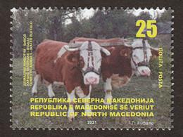 North Macedonia 2021 Domestic Farm Animals Cows Cow Fauna MNH - Macedonia