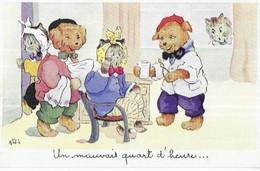 CHIENS CHATS HUMANISE   UN MAUVAIS QUART D 'HEURE . LUC ANDREA - Other Illustrators