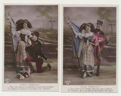 2 Cartes Fantaisie - Militaire - Patriotique - CHER DRAPEAU ! Femme - Alsace - Alsacienne - Couple - Drapeau Français - Patriotic