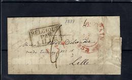 VOORLOPER (met Inhoud) 04/11/1837 Van Anvers Naar Lille Ung - 1830-1849 (Independent Belgium)