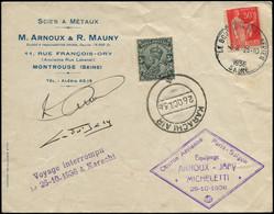 FRANCE 1° Vols LET - 25/10/36, Paris/Saïgon, Enveloppe, Voyage Interrompu, Cachets Spéciaux Et Affranchissement Karachi - Primi Voli