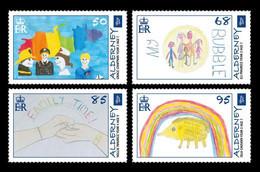 Alderney 2020 Mih. 687/90 Fight Against COVID-19 Coronavirus. Children's Drawing Competition #AlderneySpirit MNH ** - Alderney