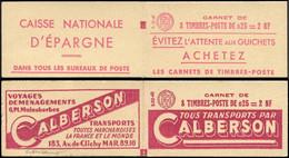 FRANCE Carnets ** - 1234-C1, 2 Carnets Complets Avec Couvertures Différentes: 0.25 La Nef - Cote: 180 - Uso Corrente