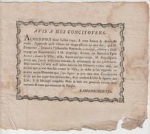 LANDES: Adresse De RAMONBORDES Fils, Avocat Aux Habitants De Dax De 1790 - Documentos Históricos