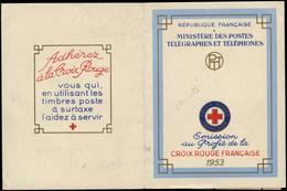 FRANCE Carnets Croix Rouge ** - 2002, Surencrage, Légende De La Paire Inférieure Gauche Détruite, Année 1953 - Croce Rossa