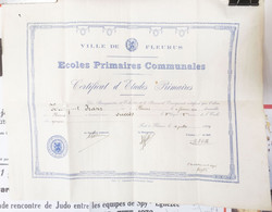 FLEURUS   Diplôme écoles Communales   1939 - Diploma & School Reports