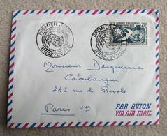 Enveloppe 1er Jour BRAZZAVILLE Avion AEF Afrique Equatoriale Française 20F Déclaration Universelle Des Droits De L'Homme - Collections