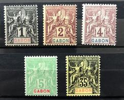 GABON 1904 - NEUF*/MH - YT 16 + 17 + 18 + 19 + 25 - LUXE - CV 38 EUR - LIRE DESCRIPTION - Unused Stamps