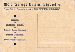 """S.GIOVANNI VALDARNO - AREZZO - CARTOLINA COMMERCIALE """"MOTO GARAGE ERMINI LISANDRO"""" BICICLETTE BIANCHI-MOTO GUZZI - 1937 - Arezzo"""