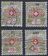SUISSE, 1911-21,   (Yvert 2A-4A-5A-7A) - Franchigia