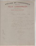 BAYONNE St ESPRIT: Félix LESGOURGUES, Atelier De Carrosserie, Rue Maubec / L. De 1891 - Cars