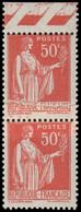 FRANCE Poste ** - 283, Type III, Paire Verticale Bdf, Impression Sur Raccord: 50c. Paix - Cote: 165 - Nuovi