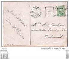 137 Sur CP Avec Flamme  VII ème Olympiade Bruxelles ANTWERPEN 6 - Le 20 VI 1920 Vers Tirlemont - Estate 1920: Anversa