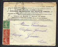 FRANCE Guerres 1916: LSC De Lamalou-l-Bains Pour Genève Affr. à 25c Avec Le Y&T 137 Et 2x Le Y&T 138, Censure Française - Guerres