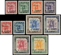 LIBYE Poste ** - 116/125, Complet 10 Valeurs, Surcharge En Francs - Cote: 800 - Libia