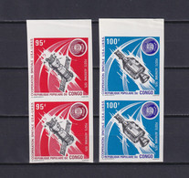 CONGO 1975, Mi# 468-469, Imperf, 2 Pairs, Space, Satellite, MNH - Collections
