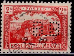 Monaco, 1922, The Rock Of Monaco, 2fr, Perfin, Used - Oblitérés