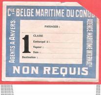 étiquette De Transport 1ère Classe  De La COMPAGNIE BELGE MARITIME DU CONGO Non Utilisée (manque Le Coin Sup Droit) - Unclassified