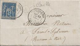 Mery-Corbon (Calvados) : LAC, Boîte Rurale A - Cléville (dans Le Texte), 1885. - 1877-1920: Periodo Semi Moderno