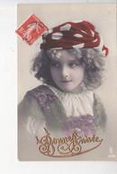 BONNE ANNEE, Petite Fille Au Bonnet Rouge à Pois Blancs, Ed. PFB 1909 - New Year
