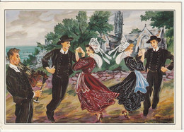 Carte Postale. France. Folklore Breton. Fouesnant. La Gavotte Tournée. Costumes. Dessin De Ch. Homualk. Etat Moyen. - Musique