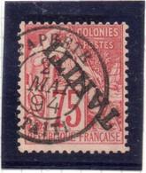 37CRT486 - TAHITI TAITI 1893 , Yvert N. 17a Usato. TIMBRINO. Capovolta - Used Stamps