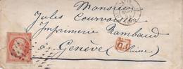 FRANCE. ENVELOPPE CIRCULEE PARIS A GENEVE, SUISSE. ANNEE 1855. ENDOMMAGÉ.- LILHU - 1853-1860 Napoléon III