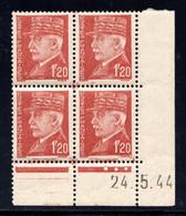 YT-N°: 515 - PÉTAIN (type Hourriez), Coin Daté Du 24.05.1944, Galvano S De S+T, 1er Tirage, NSC/**/MNH - 1940-1949