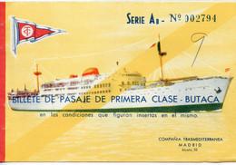 27X..... Billet De Transport Bateau Pour Palma De Majorque .195.. Billete De Pasaje De Turista II . . Iles Baleares - Europe