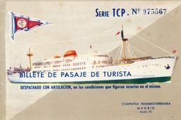 28X..... Billet De Transport Bateau Pour Palma De Majorque .195.. Billete De Pasaje De Turista II . . Iles Baleares - Europe