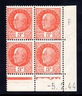 YT-N°: 521 - PÉTAIN (type Bersier), Coin Daté Du 05.02.1944, Galvano F De F+G, 2e Tirage, NSC/**/MNH - 1940-1949