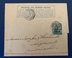 Poste Maritime Entier Postal 1902 Bande De Journal Port Louis île Maurice Montpellier Paquebot La Réunion Marseille - Mauritius (...-1967)