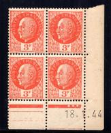 YT-N°: 521 - PÉTAIN (type Bersier), Coin Daté Du 18.01.1944, Galvano D De D+E, 2e Tirage, NSC/**/MNH - 1940-1949