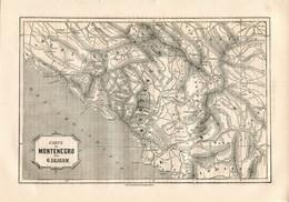 Original Antique Print 1860 Map Montenegro Republic Of Ragusa Adriatic Sea Dalmatia - Geographical Maps