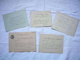 Lot De 5 Cartons Invitations Fin 19 ème Et Début 20 ème Président Du Sénat, Ministères, Mairie De Paris .... - Non Classificati