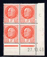YT-N°: 521 - PÉTAIN (type Bersier), Coin Daté Du 27.10.1943, Galvano E De D+E, 1er Tirage, NSC/**/MNH - 1940-1949
