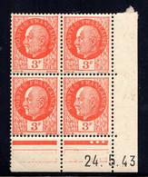 YT-N°: 521 - PÉTAIN (type Bersier), Coin Daté Du 24.05.1943, Galvano B De B+C, 4e Tirage, Voir Scans & Description - 1940-1949