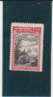 France 1 F Red & Black WWI Automobile Club Zeppelin & Tank Vignette Poster Stamp - Military Heritage