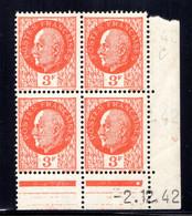 YT-N°: 521 - PÉTAIN (type Bersier), Coin Daté Du 02.12.1942, Galvano C De B+C, 2e Tirage, NSC/**/MNH - 1940-1949