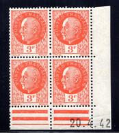 YT-N°: 521 - PÉTAIN (type Bersier), Coin Daté Du 20.04.1942, Galvano A De A+A', 4e Tirage, NSC/**/MNH - 1940-1949