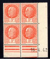 YT-N°: 521 - PÉTAIN (type Bersier), Coin Daté Du 16.04.1942, Galvano A' De A+A', 4e Tirage, NSC/**/MNH - 1940-1949
