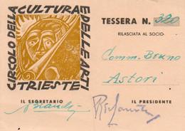 Tessera - CIRCOLO DELLA CULTURA E DELLE ARTI TRIESTE - Unclassified