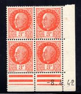 YT-N°: 521 - PÉTAIN (type Bersier), Coin Daté Du 08.04.1942, Galvano A' De A+A', 4e Tirage, NSC/**/MNH - 1940-1949