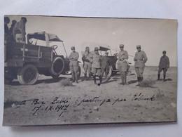 1917  BIR ZEBLI PARTENZA PER TOBRUK    ANIMATA   LIBIA MILITARI IN DIVISA E CAMION  FOTO ORIGINALE - Libye