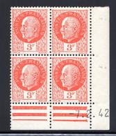 YT-N°: 521 - PÉTAIN (type Bersier), Coin Daté Du 07.02.1942, Galvano A' De A+A', 4e Tirage, NSC/**/MNH - 1940-1949