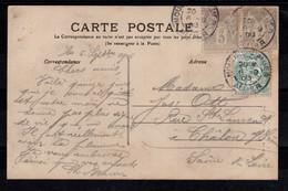 Affranchissement Mixte Sage / Blanc Sur Carte Postale De Moulins - 1877-1920: Semi-moderne Periode